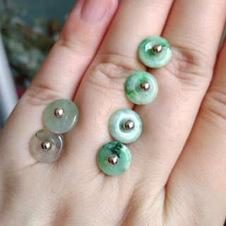 🏵️$18 Clearance Sales - Grade A Green Coins/平安扣 Jadeite Jade Earrings🏵️