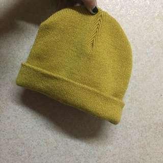 全新|流行黃色小圓短毛帽
