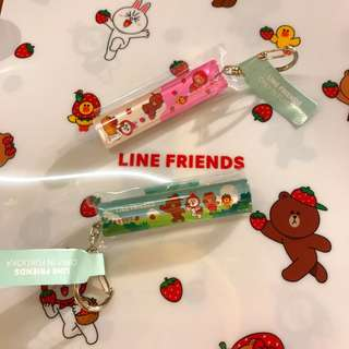 LINE FRIENDS 福岡限定 熊大 CONY 草莓鎖匙扣