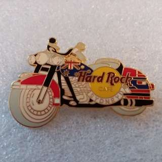 Hard Rock Cafe Pins ~ SYDNEY HOT RED LEFT~FACING MOTORCYCLE WITH FLAG ON GAS TANK!