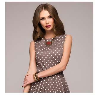 Elegant Sleeveless O-neck dotted dress Below Knee Length