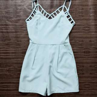 Vintage Thrift Criss Cross Romper (Pastel Blue)