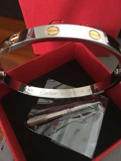 Authentic Stainless Steel Cartier Bangle with gold tone with screw silver