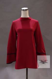 Elvy Layered Sleeve Top (Red)