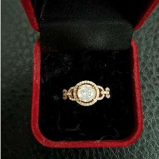 0.92 CT Diamond Ring 14K Rose Gold