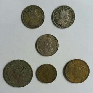 British Colonial Hong Kong Coins KE7 KGV KGVI (1902/1936/1950)