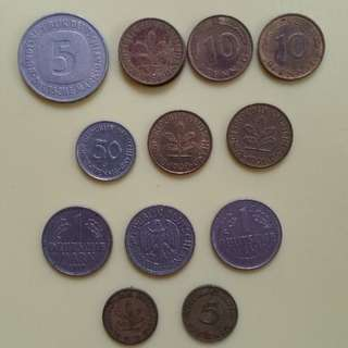German Deutschemark Germany Coins (1950-1991)