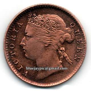 Straits Settlements 1901 Quarter Cent Queen Victoria fractional bronze coin -- 00091