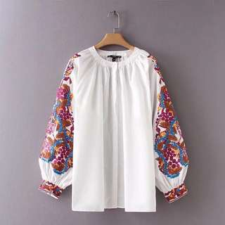 Plus Size European wide lantern long-sleeved shirt female sleeve embroidery pattern loose round neck shirt