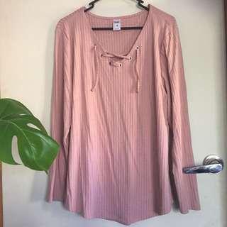 Pink ribbed laced shirt