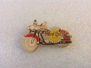 Hard Rock Cafe Pins - SYDNEY HOT RED LEFT-FACING MOTORCYCLE WITH FLAG ON GAS TANK!