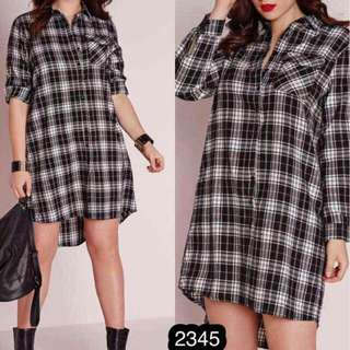 Longback Checkered Longsleeves Dress
