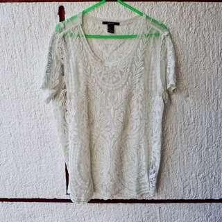 Forever 21 white green bohemian top