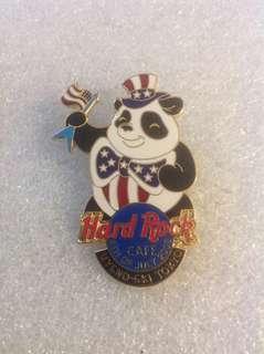 Hard Rock Cafe Pins - TOKYO UYENO-EKI HOT & RARE 2003 4TH OF JULY INDEPENDENCE DAY PANDA BEAR PIN!