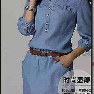 KOREAN 3/4 Denim Mini Dress