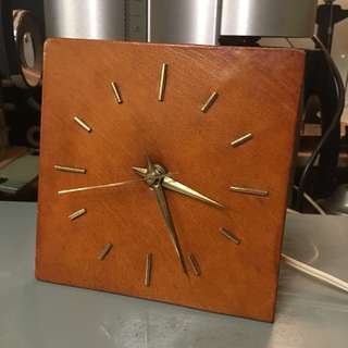 50s 60s Vintage Holland Table clock leather face