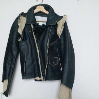 H&M X Martin margiela leather jacket 34