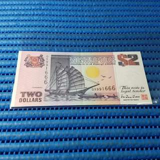 991666 Singapore Ship Series $2 Note QX 991666 Nice Number Dollar Banknote Currency HTT
