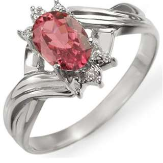 0.79 CTW Pink Tourmaline & Diamond Ring 18K White Gold