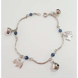Dangling bracelet with Swarovski colour crystals & doggy ornaments & bells.