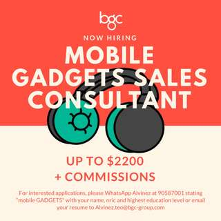 HIGH END Mobile Gadgets Sales Consultant UP TO $2200 + COMMS