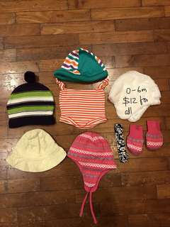 0-6 month bundle of hats, caps, mittens, hairband