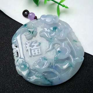🎍Grade A 冰糯 Lavender Green Floral Flower and 福气满满 Jadeite Jade Pendant🎍