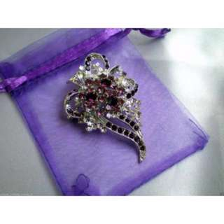 18K White Gold Plated Brooch With Austrian Crystals
