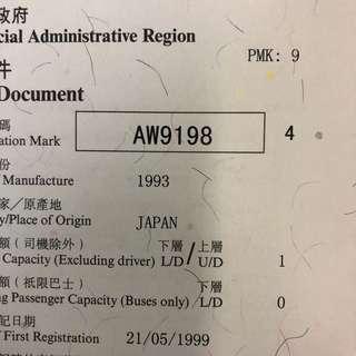 車牌號碼-AW9198