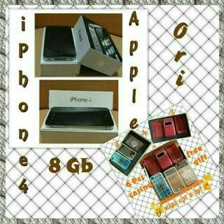 iPhone 4/8 GB/APPLE ORI/BLACK/FREE 6 PCS CASING
