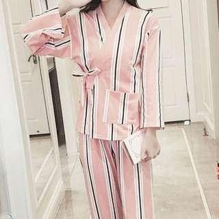 (全新)和服款粉紅條紋睡衣 (送同款眼照)