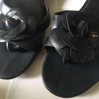 CHANEL Camellia Lambskin Women's Sandals