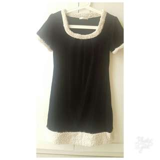 Fur black dress