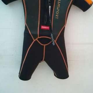 Aauasport 保暖系列橙色厚料兒童游泳保暖連身泳衣