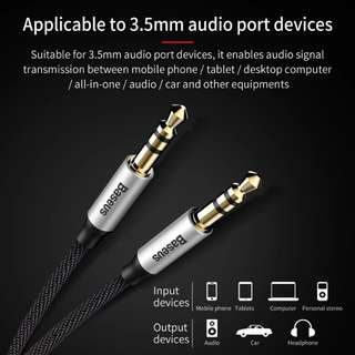 Baseus 3.5mm Jack Audio Cable Gold Plated Jack 3.5 mm Male to Male