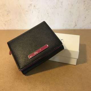 Agnes B Black/ Pink Leather Wallet皮銀包