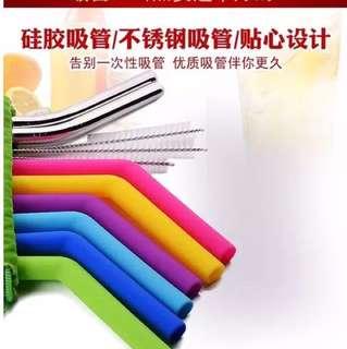🚚 創意彩色矽膠吸管套装304不鏽鋼奶茶果汁飲料加粗吸管附毛刷組