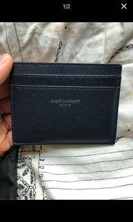 ysl saint laurent card case holder leather navy blue classic