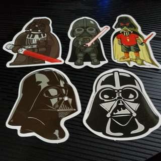 Waterproof Decal Star Wars Darth Vadar Set of 5pcs