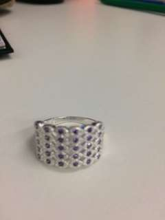 Jewelry White Gold color Alloy Eyes Design Ring With Purple Austria Crystals (size 8)