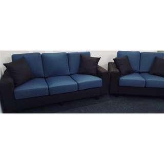 Two Tone (Blue + Brown) Korean Fabric Sofa Set (3+2 Seater)