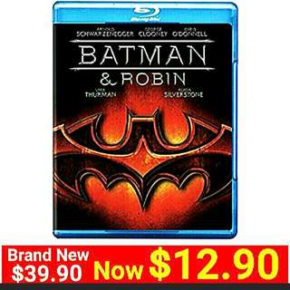 [Brand New] Blu-Ray BATMAN & ROBIN BLU-Movie Disc.  UP: $39.90  Special Offer: $12.90 + Free mail postage ( Brand New & Sealed)Whatspp 85992490 to collect today. Last piece left