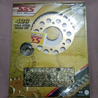 SSS Sprocket and Chain Gold Steel Set for Yamaha Sniper 150