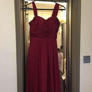 酒紅色姊妹裙