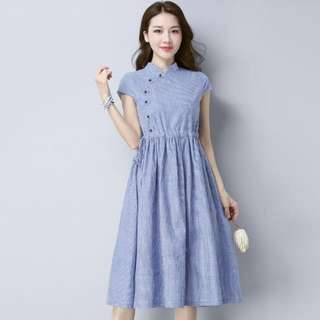 Cotton linen cheongsam dress