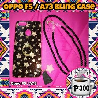 Oppo F5 A73 Stars Gold Bling Ring Case w/ Beaded Strap Black