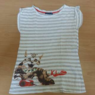 Polka Tots Striped Cat Graphic Tee
