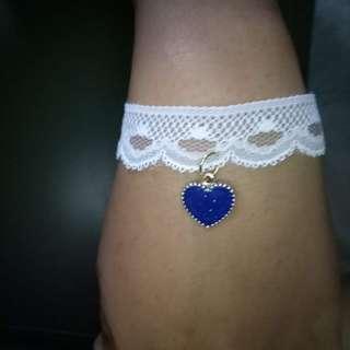 White lace bracelet Blue heart