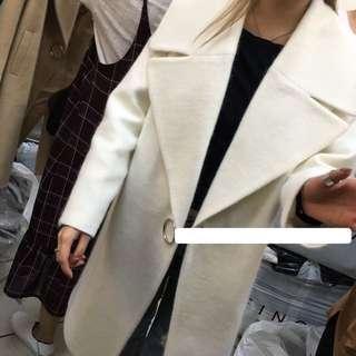 Ula Shop🌸韓版金屬環硬挺大翻領羊毛大衣外套