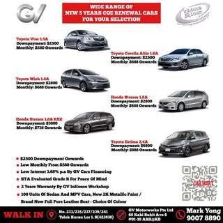New 5 years COE Renewed Cars 07/08